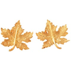 Buccellati Autumn Leaf 18 Karat Gold Omega Clip Stud Earrings