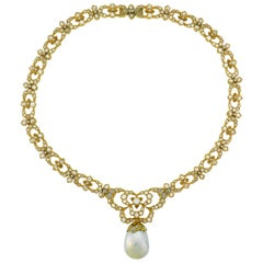 Buccellati Baroque Pearl Diamond Gold Necklace