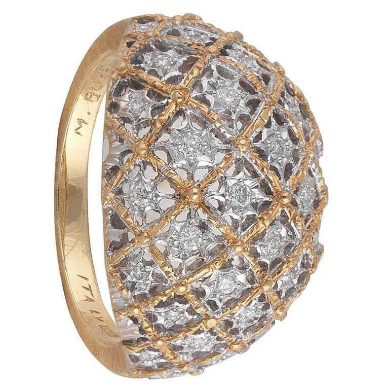 BERNARDO ANTICHITÀ PONTE VECCHIO FLORENCE Bombe textured Gold and Diamond ring, size 7, weight 6,6gr.