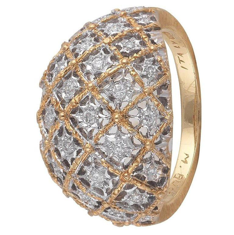 Contemporary Buccellati Bombe White and Yellow Gold and Diamonds Ring For Sale