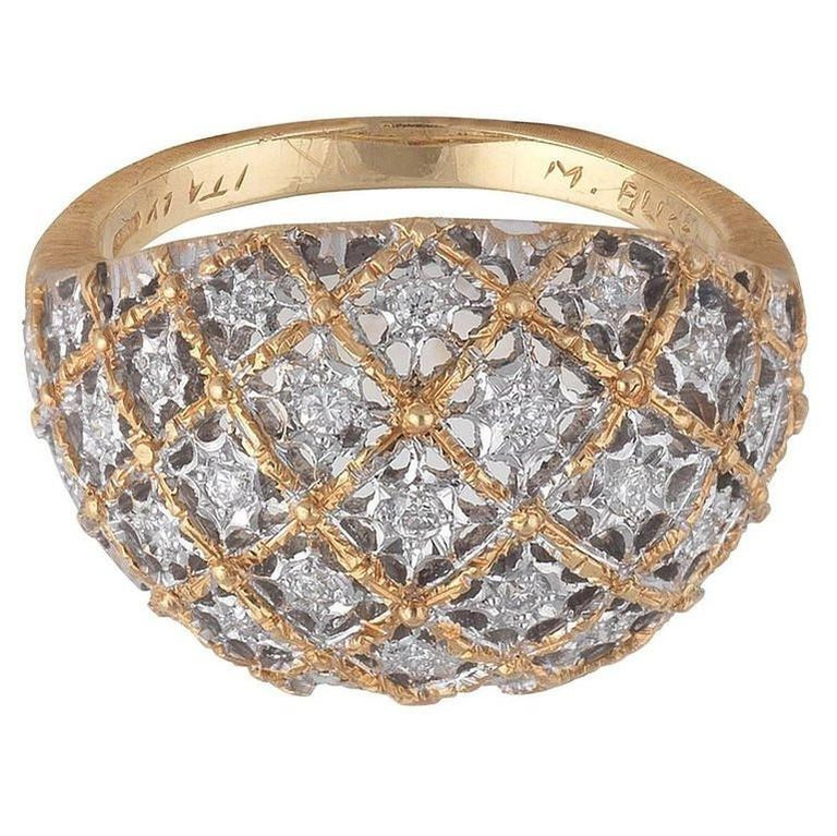Buccellati Bombe White and Yellow Gold and Diamonds Ring In Excellent Condition For Sale In Firenze, IT