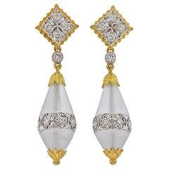 Buccellati Carved Crystal Diamond Gold Drop Earrings