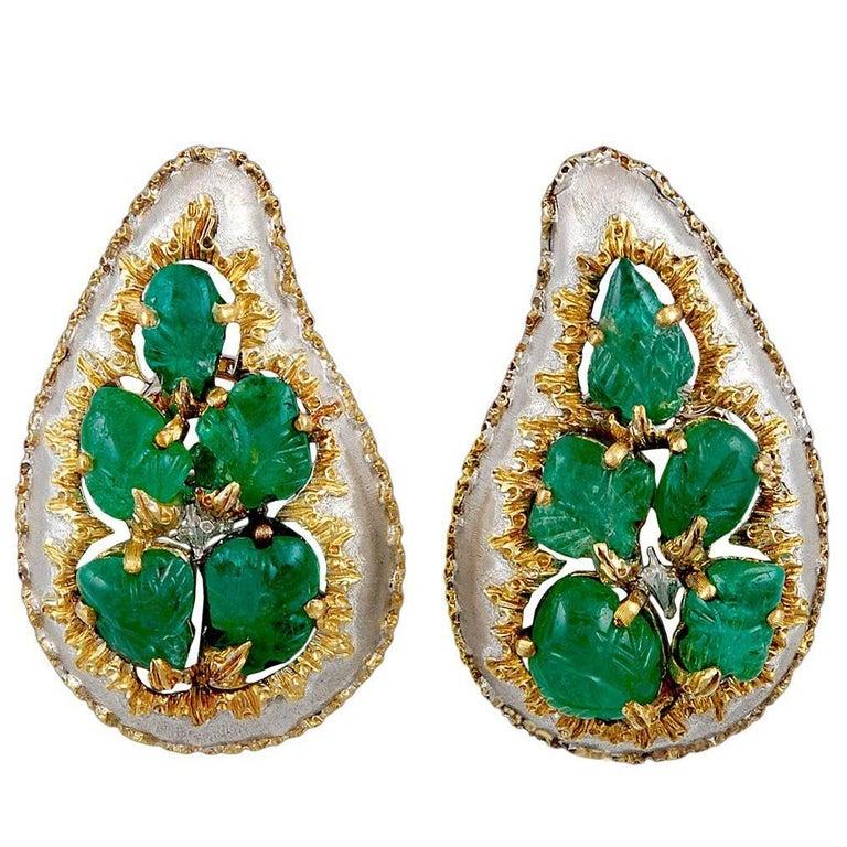 Buccellati Carved Emerald Earrings