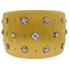 Buccellati Classic Diamond Gold Wide Cuff Bracelet