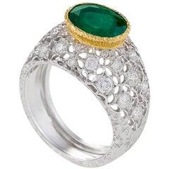 Buccellati Colombian Emerald and Diamond Ring