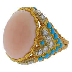 Buccellati Coral Diamond Turquoise Gold Ring