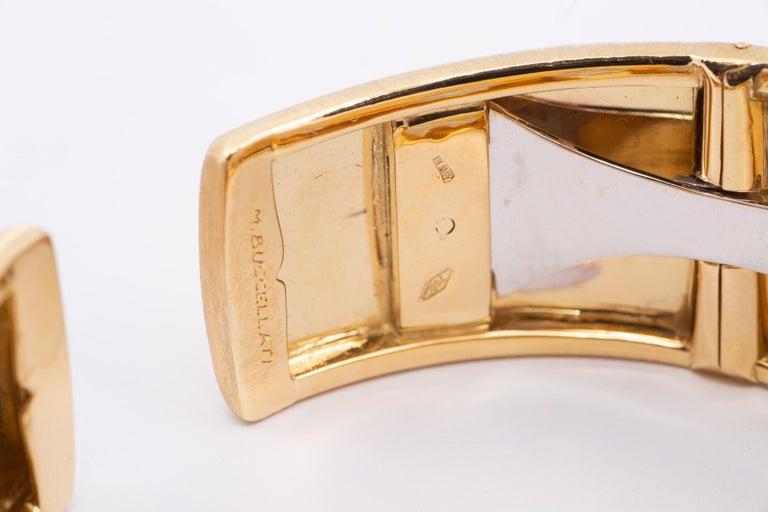 Round Cut Buccellati Cuff with Diamonds in Gold For Sale