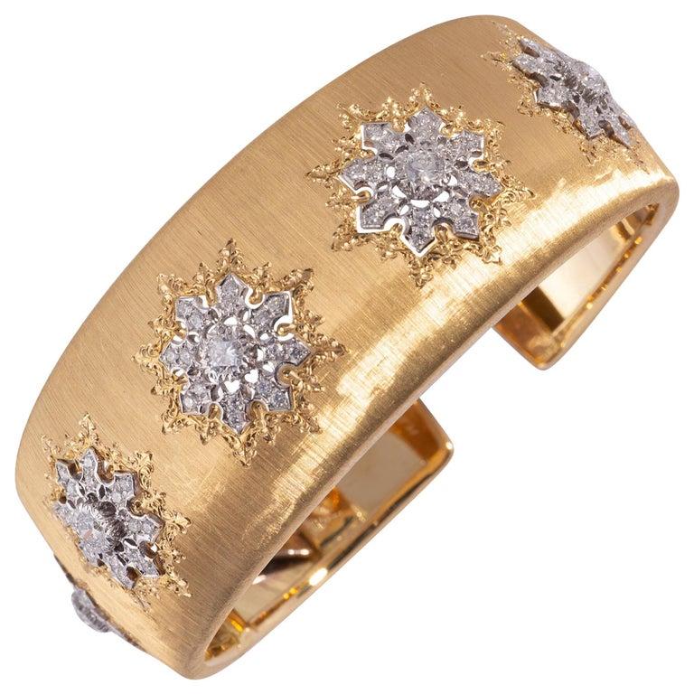 Buccellati Cuff with Diamonds in Gold For Sale