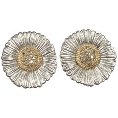 Buccellati Daisy Flower Large Silver Gold and Brown Diamond Earrings