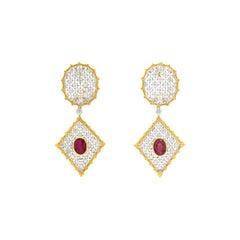 Buccellati Dangle Rombi Earrings with Rubies and Diamonds