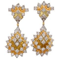 Buccellati Diamond 18 Karat Gold Dangle Drop Omega Clip Earrings