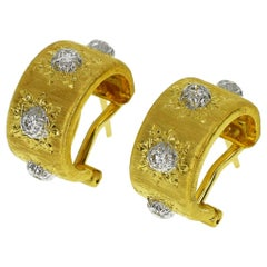 Buccellati Diamond 18 Karat Yellow White Gold Macri Classica Hoop Earrings Small