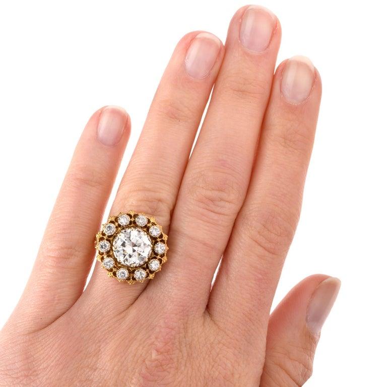 Art Nouveau Buccellati Diamond 18 Karat Cocktail Engagement Ring For Sale