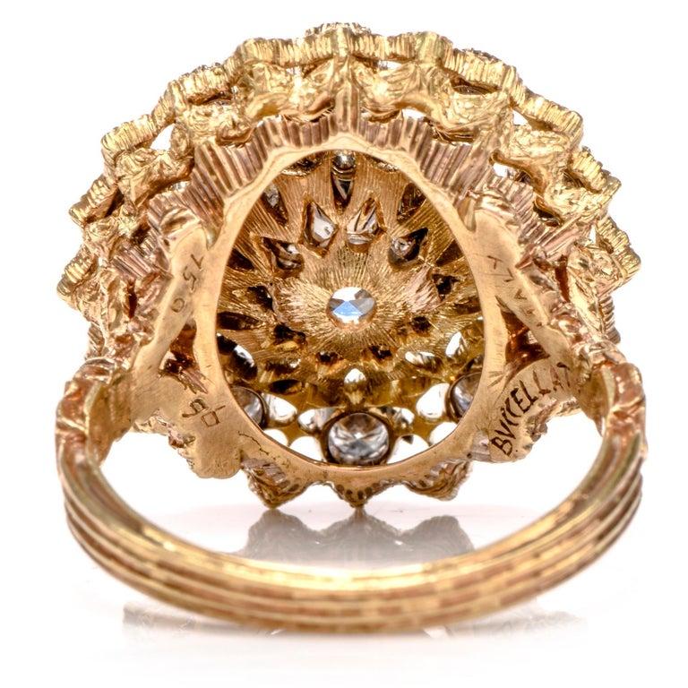 Buccellati Diamond 18 Karat Cocktail Engagement Ring For Sale 1