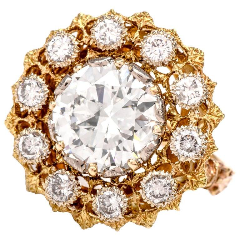 Buccellati Diamond 18 Karat Cocktail Engagement Ring For Sale