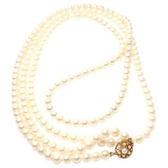 Buccellati Diamond 8mm Pearl Strand Yellow Gold Necklace
