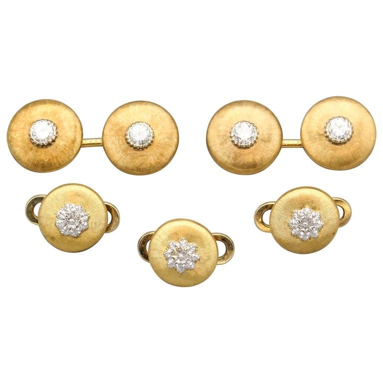 Buccellati Diamond and 18 Karat Gold Cufflinks and 3 Studs Set For Sale