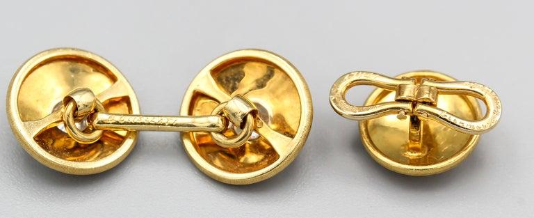 Men's Buccellati Diamond and 18 Karat Gold Cufflinks and 3 Studs Set For Sale