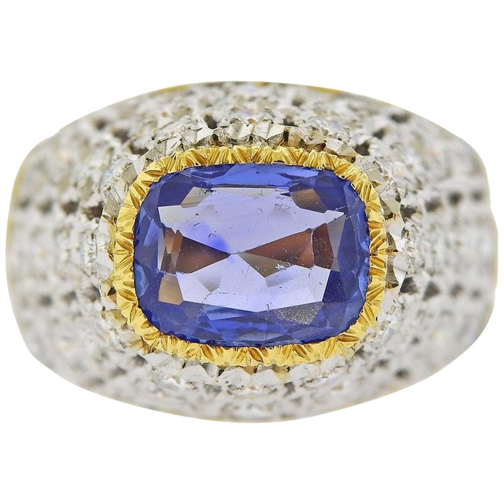 Buccellati Diamond and Blue Sapphire Ring