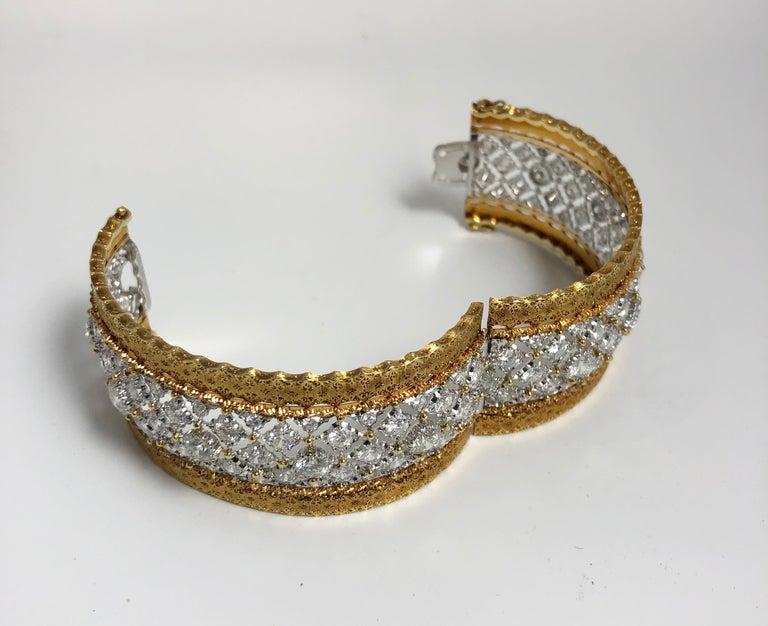 Women's Buccellati Diamond and Gold Bangle Bracelet For Sale