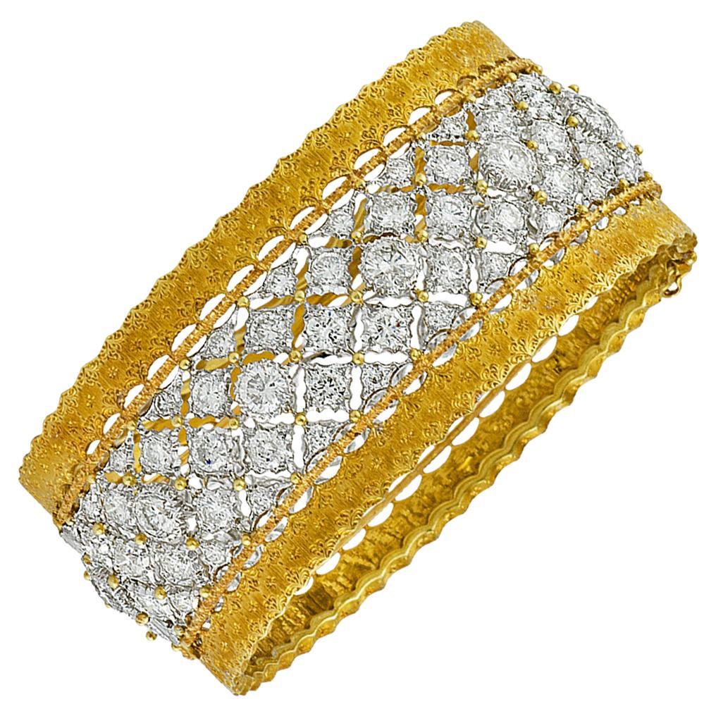 Buccellati Diamond and Gold Bangle Bracelet