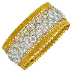 Buccellati Diamond and Gold Bangle Bracelet