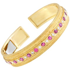 Buccellati Diamond and Ruby Yellow Gold Open Bangle Bracelet