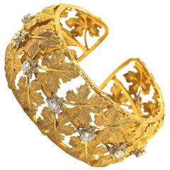 Buccellati Diamond Cuff Bracelet Yellow Gold Maple Leaf Motif