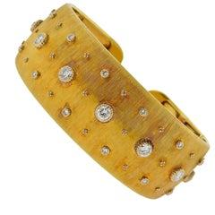 Buccellati Diamond Gold Classic Cuff Bracelet
