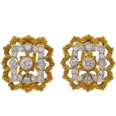 Buccellati Diamond Gold Clip-On Earrings