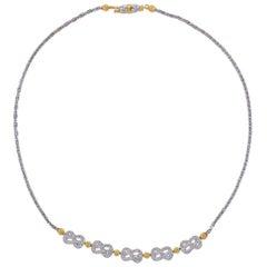 Buccellati Diamond Gold Love Knot Necklace