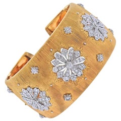 Mario Buccellati Diamond Gold Wide Cuff Classic Bracelet