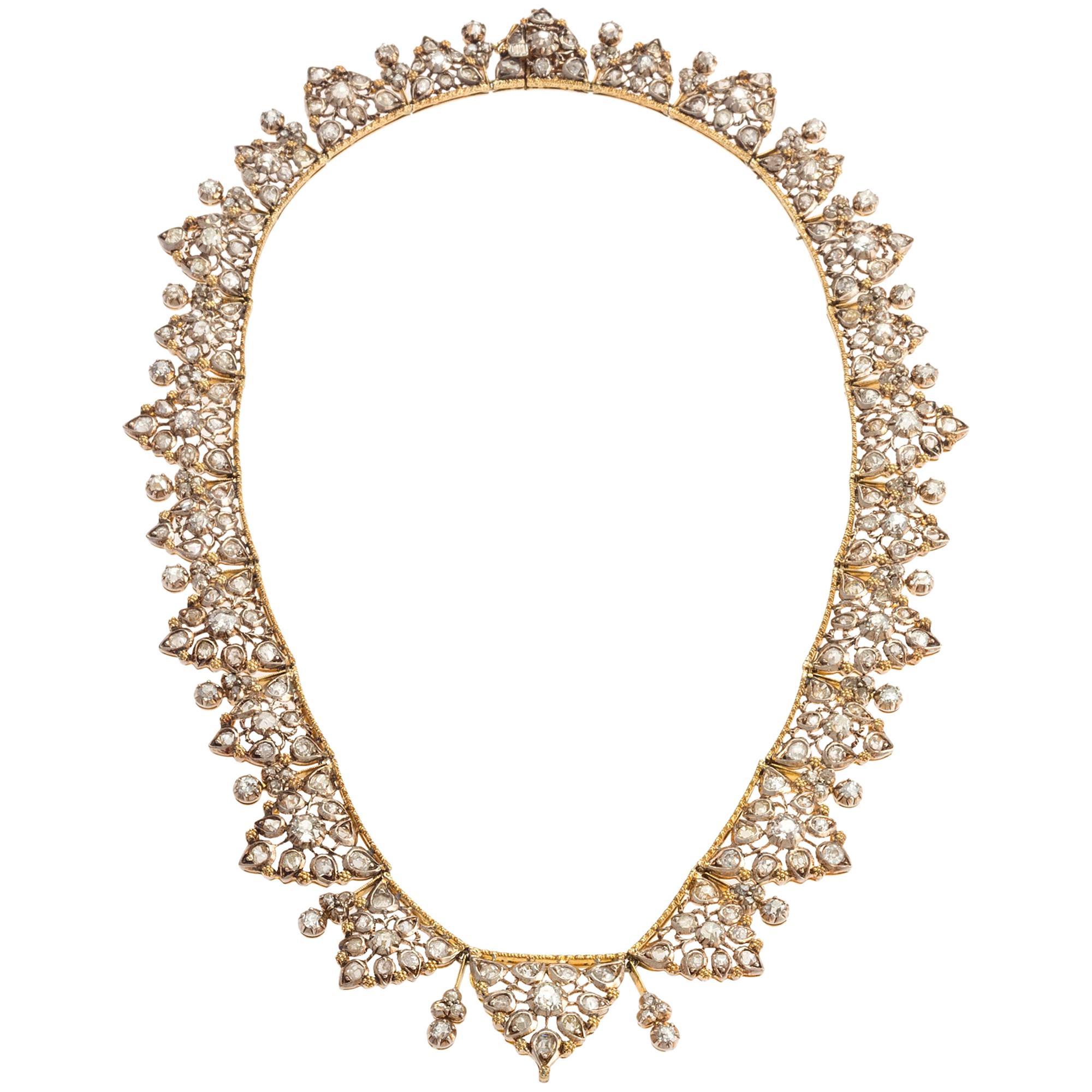 Buccellati Diamond Leaf Fringe Necklace