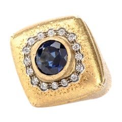 Buccellati Diamond Sapphire 18 Karat Statement Ring