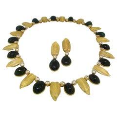 Buccellati Diamond Tourmaline Gold Necklace Earrings Set