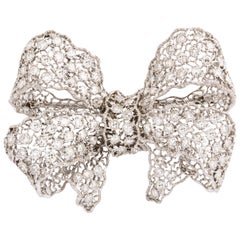 Buccellati Diamond White Gold Florentine Lace Pin