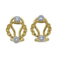 Buccellati Diamond Yellow White Gold Open Circle Earrings