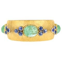 Buccellati Emerald Sapphire Yellow Gold Cuff Bracelet
