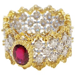 Buccellati Eternelle Ring with Ruby in Openwork White Gold Set with Diamonds