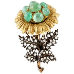 Buccellati Flower Emerald Brooch