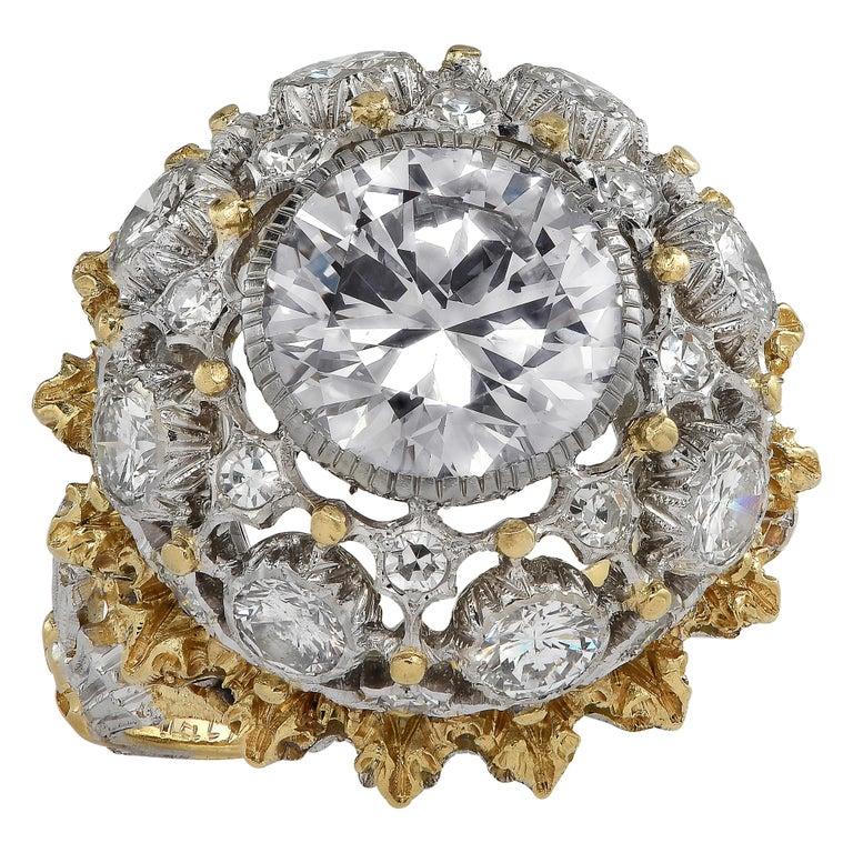 Round Cut Buccellati GIA Certified 2.88 Carat Diamond Ring For Sale