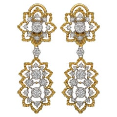 "Buccellati Gold and Diamond ""Cinesina"" Drop Earrings"