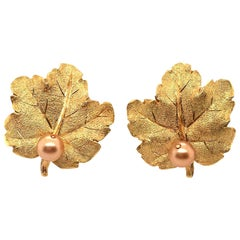 Buccellati Gold and Pearl Leaf Earrings