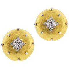 Buccellati Gold Diamond Button Earrings