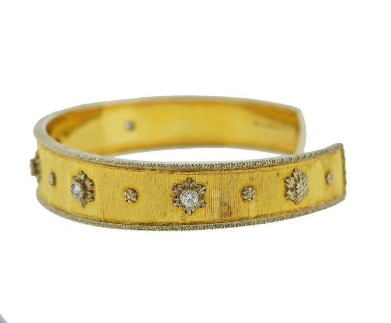 Gold bracelet crafted by Buccellati. Bracelet features approx 0.25ctw in SI H diamonds. Bracelet will fit approx. 7