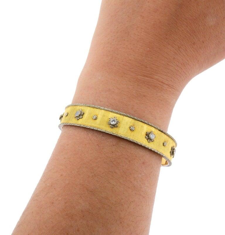 Buccellati Gold Diamond Cuff Bracelet In Excellent Condition For Sale In Boca Raton, FL