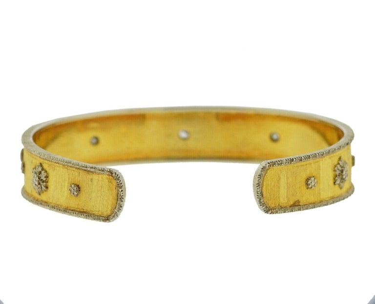 Women's or Men's Buccellati Gold Diamond Cuff Bracelet For Sale