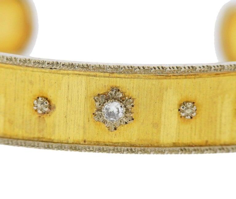 Buccellati Gold Diamond Cuff Bracelet For Sale 2
