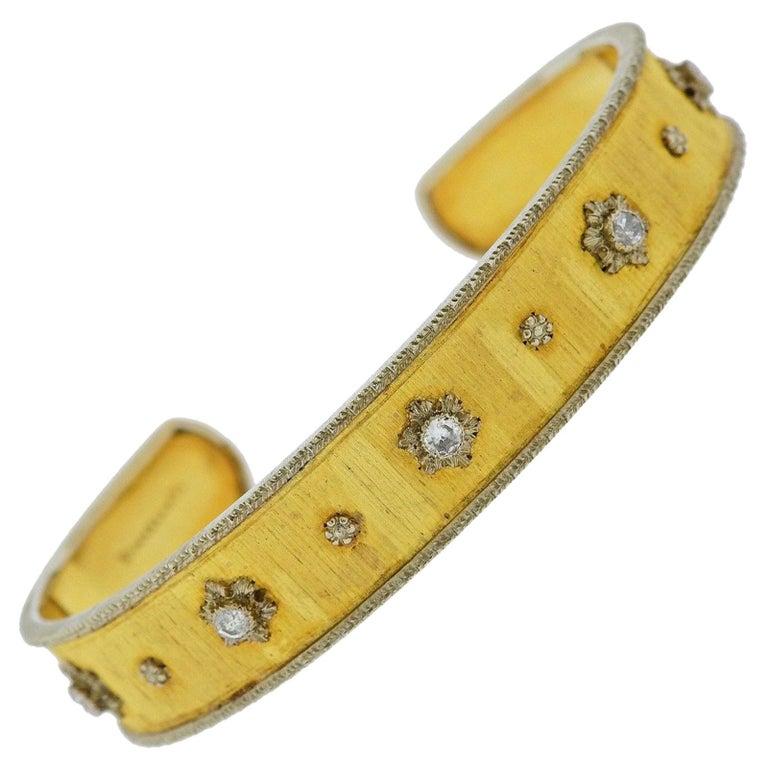 Buccellati Gold Diamond Cuff Bracelet For Sale