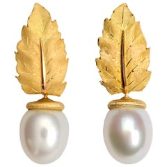 Buccellati Gold Leaf and Pearl Drop Earrings